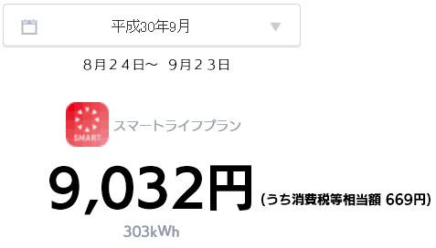 オール電化 電気代 太陽光発電 売電金額 2018年 9月