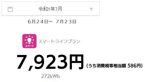 オール電化 電気代 太陽光発電 売電金額 2019年 7月