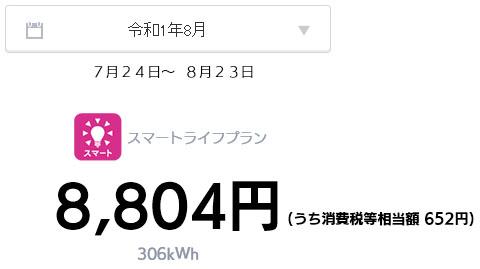 オール電化 電気代 太陽光発電 売電金額 2019年 8月