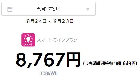 オール電化 電気代 太陽光発電 売電金額 2019年 9月