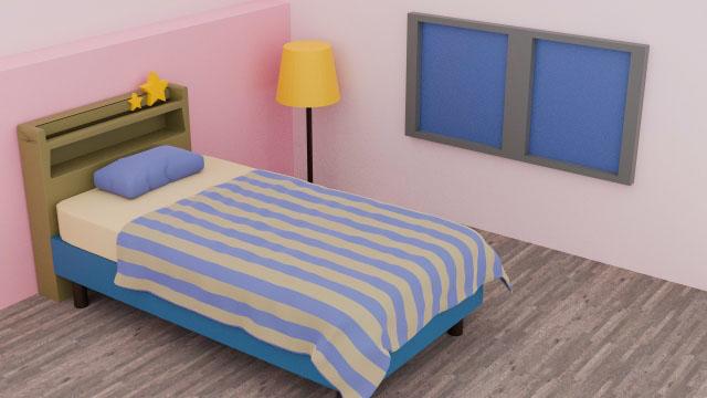 ベッド 3D ミニチュア