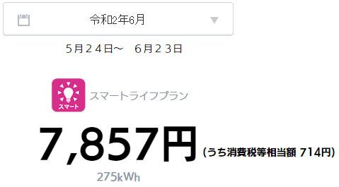 オール電化 電気代 太陽光発電 売電金額 2020年 6月