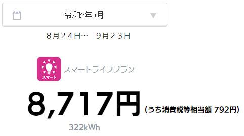 オール電化 電気代 太陽光発電 売電金額 2020年 9月