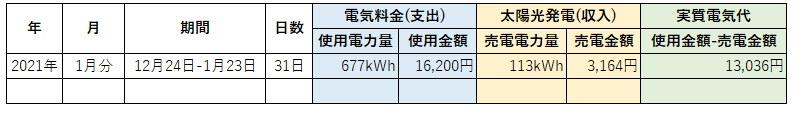 オール電化 電気代 太陽光発電 売電金額 2021年 1月